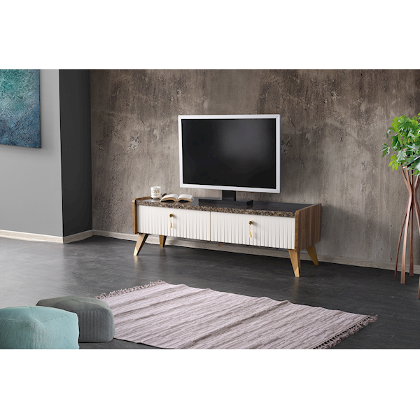 Lotus Tv Sehpası Ceviz-Ekru-Mermer