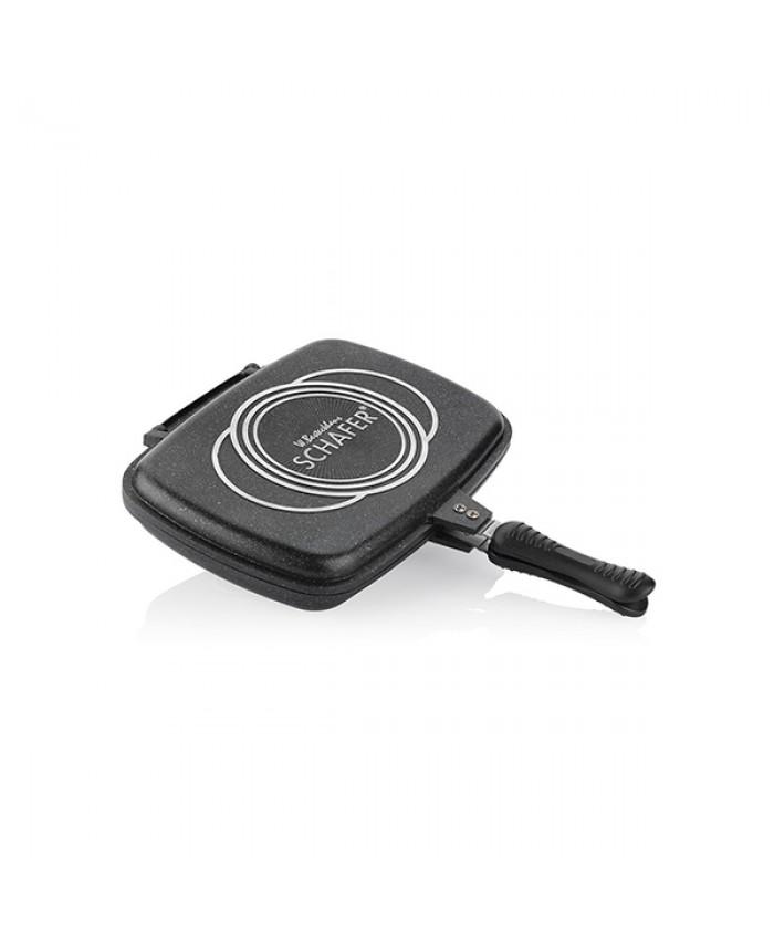 Schafer Kare Double Grill Pan 32-34 cm Siyah