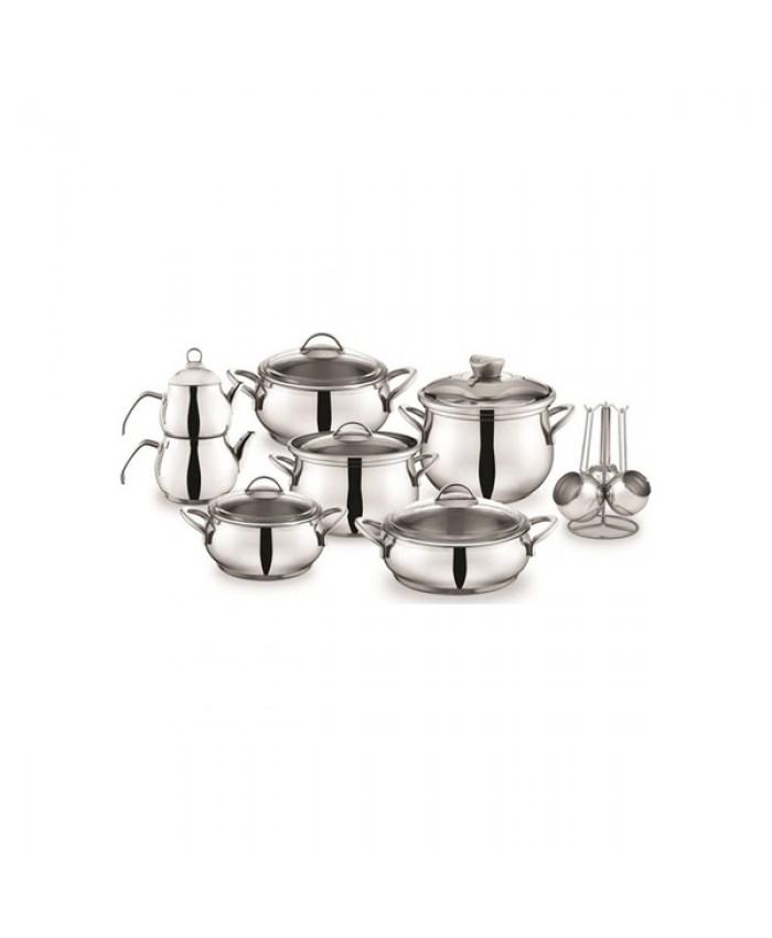 Schafer Alia Çelik Çeyiz Seti 18 Parça Gümüş