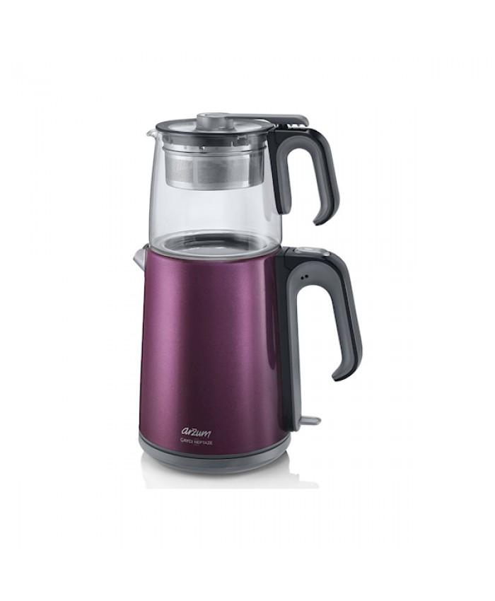 Arzum Ar3031 Çaycı Heptaze Mürdüm Inox Cam Çay Makinesi - FIRSAT ÜRÜNÜ