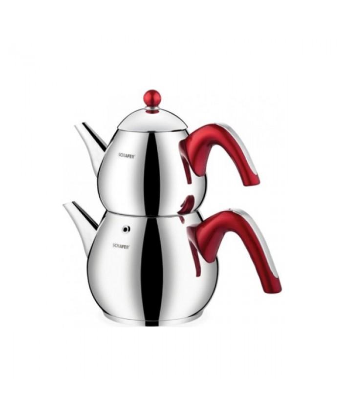 Schafer Tea Chef Çaydanlık Takımı Büyük 4 Parça Kırmızı