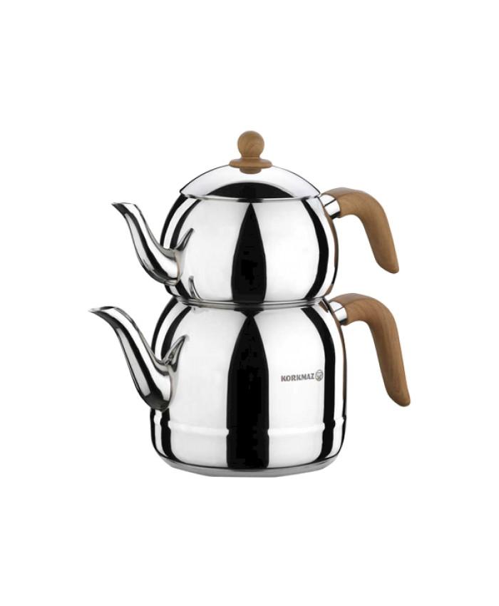 Korkmaz A196 Retro Çaydanlık Takımı Ahsap