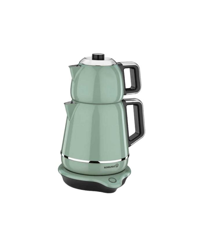 Korkmaz A332-01 Demiks Elektrikli Çaydanlık Turkuaz Krom