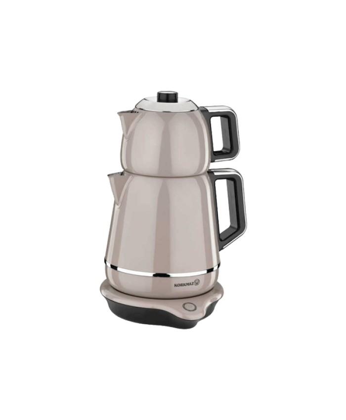 Korkmaz A332-02 Demiks Elektrikli Çaydanlık Bej Krom