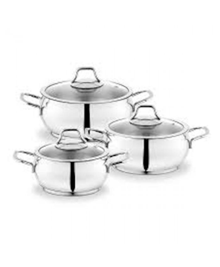 Schafer Cookhaus Çelik Tencere Seti 6 Parça Gümüş