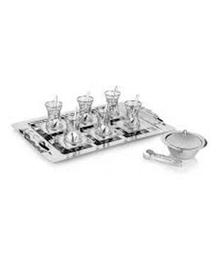 Schafer Mittag 40 Parça Çelik Çay Seti Gümüş