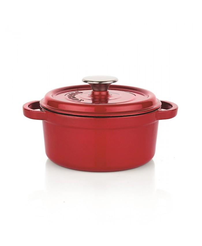 Schafer Guss Chef Döküm Derin Tencere 20 Cm Kırmızı