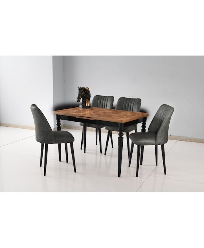 Bade Masa Takımı Siyah-C.Parke ( 4 Ad. Doğa Sandalye Siyah - Gri )